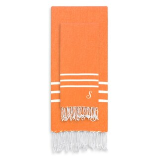 Authentic Ella Dark Orange Monogrammed Pestemal Fouta Turkish Cotton Beach and Head Towel Set (Set of 2)