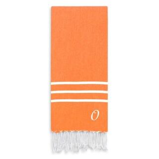 Authentic Ella Dark Orange Monogrammed Pestemal Fouta Turkish Cotton Bath/ Beach Towel