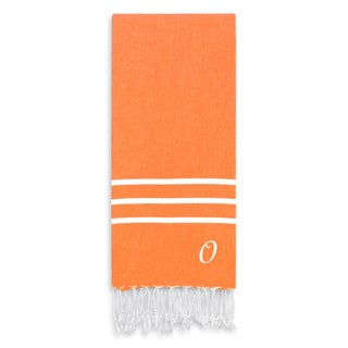 Authentic Ella Dark Orange Monogrammed Pestemal Fouta Turkish Cotton Bath/ Beach Towel