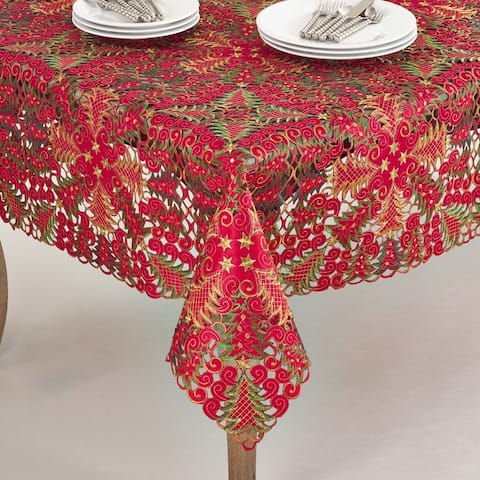 Panettone Collection Holiday Christmas Tree Cutwork Tablecloth