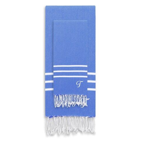 Authentic Ella Royal Blue Monogrammed Pestemal Fouta Turkish Cotton Beach and Head Towel Set (Set of 2)