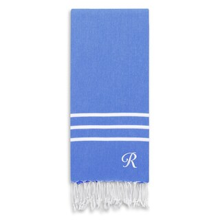 Authentic Ella Royal Blue Monogrammed Pestemal Fouta Turkish Cotton Bath/ Beach Towel