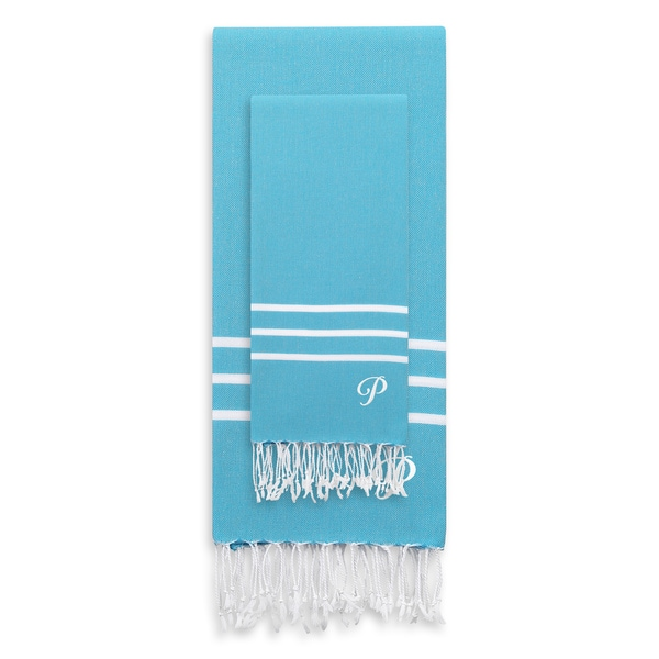 Authentic Ella Turquoise Blue Monogrammed Pestemal Fouta Turkish Cotton Beach and Head Towel Set (Set of 2)