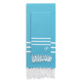 Authentic Ella Turquoise Blue Monogrammed Pestemal Fouta Turkish Cotton Beach and Head Towel Set (Set of 2)