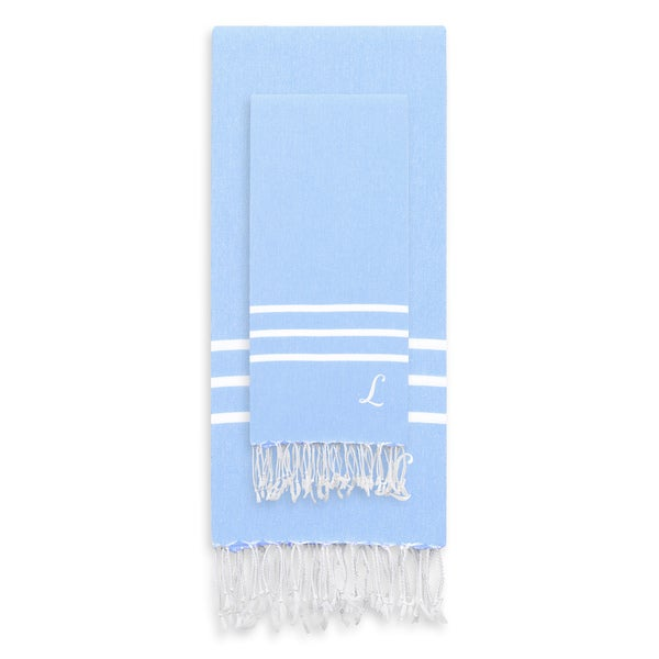 Authentic Ella Sky Blue Monogrammed Pestemal Fouta Turkish Cotton Beach and Head Towel Set (Set of 2)