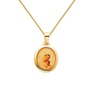 14k Yellow Solid Gold and Enamel 7/10-inch Blessed Virgin and Baby Jesus Religious Pendant and 0.8 mm Square Wheat Chain