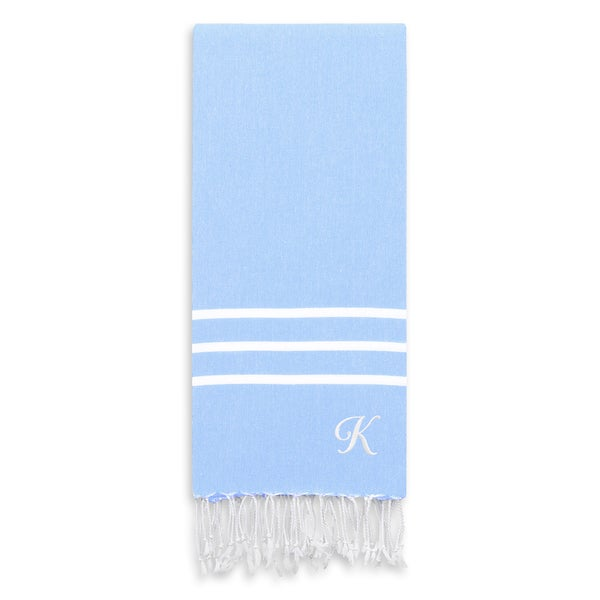 Authentic Ella Sky Blue Monogrammed Pestemal Fouta Turkish Cotton Bath/ Beach Towel