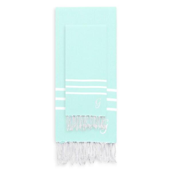 Authentic Ella Soft Aqua Monogrammed Pestemal Fouta Turkish Cotton Beach and Head Towel Set (Set of 2)