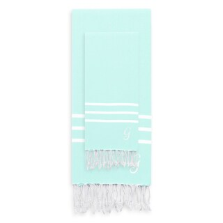 Authentic Ella Soft Aqua Monogrammed Pestemal Fouta Turkish Cotton Beach and Head Towel Set (Set of 2)