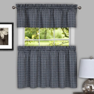 Classic Grey Cotton Blend Plaid Decorative Window Curtain Separates, Tier Pair and Valance Options