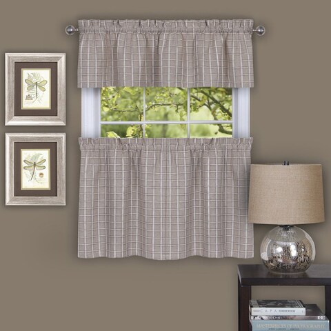 Classic Plaid Linen-style Decorative Window Curtain Separates (Tier Pair and Valance Options)