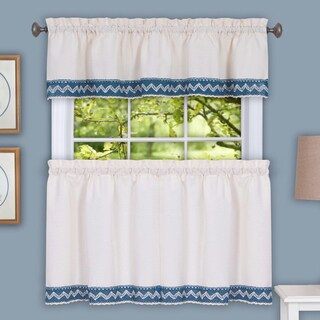 Class Blue Cotton Blend Macrame Trimmed Decorative Window Curtain Separates, Tier Pair and Valance Options
