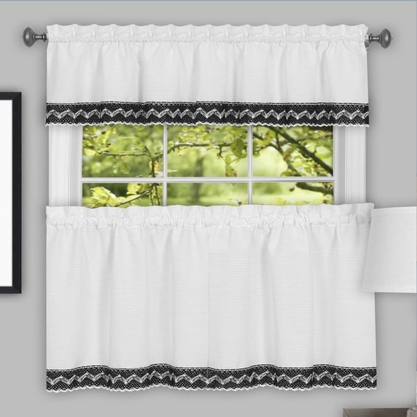 Black and White Macrame Trimmed Decorative Window Curtain Separates with Tier Pair and Valance Options. Opens flyout.
