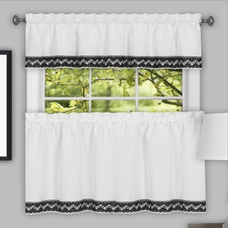 Black and White Macrame Trimmed Decorative Window Curtain Separates with Tier Pair and Valance Options