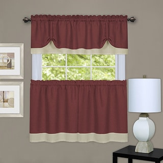 Marsala/Tan 24-inch/36-inch 3-piece Double Layer Tie Up Tier and Valance Window Curtain Se