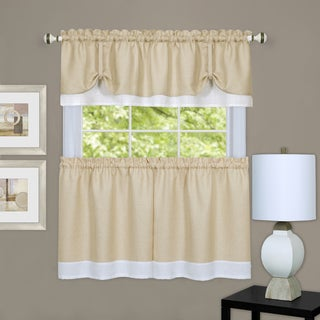 Double Layer Tie-Up Tan/ White 3-piece Tier and Valance Window Curtain Set