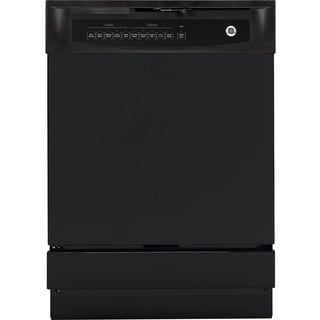 GE White/Black Plastic/Stainless Steel Full Console Built-in Dishwasher