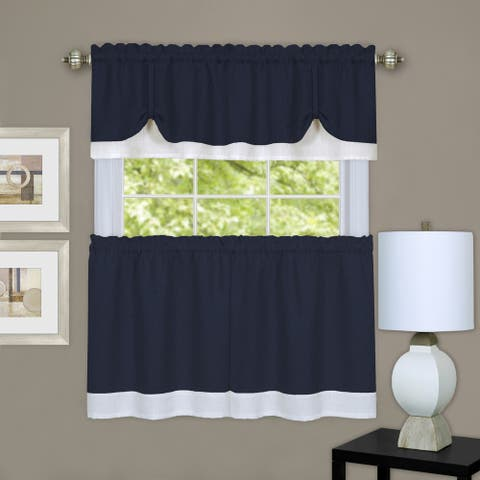 Navy/White Three-piece Double-layer Tie-up Tier and Valance Window Curtain Set (24 or 36 i
