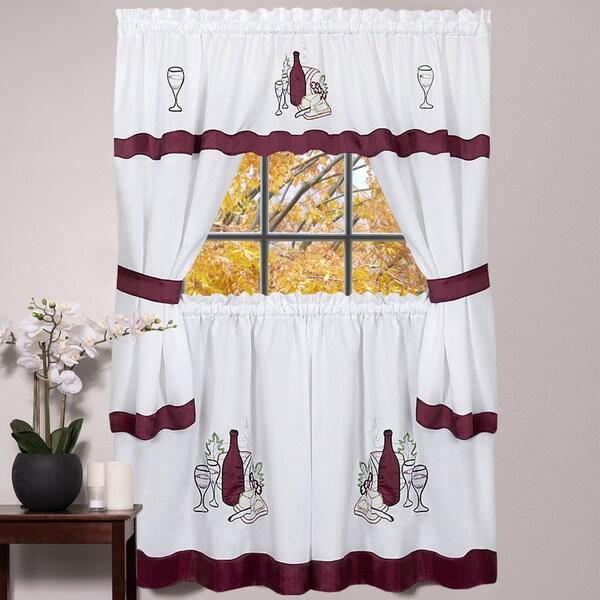 Burgundy Kitchen Curtains: Shop 5-piece Burgundy Embroidered Cabernet Kitchen Curtain