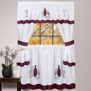 5-piece Burgundy Embroidered Cabernet Kitchen Curtain Set (24 inches or 36 inches)