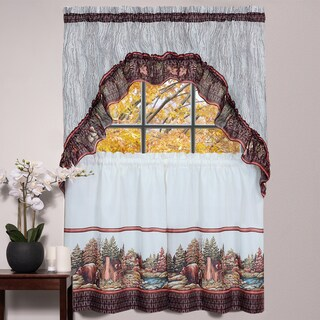 Rustic Woodland Printed Tier and Swag Window Curtain Set (24 inches or 36 inches)