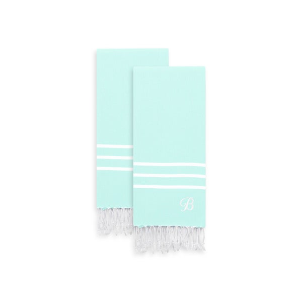 Authentic Ella Soft Aqua Monogrammed Pestemal Fouta Turkish Cotton Hand/Kitchen Towel (Set of 2)