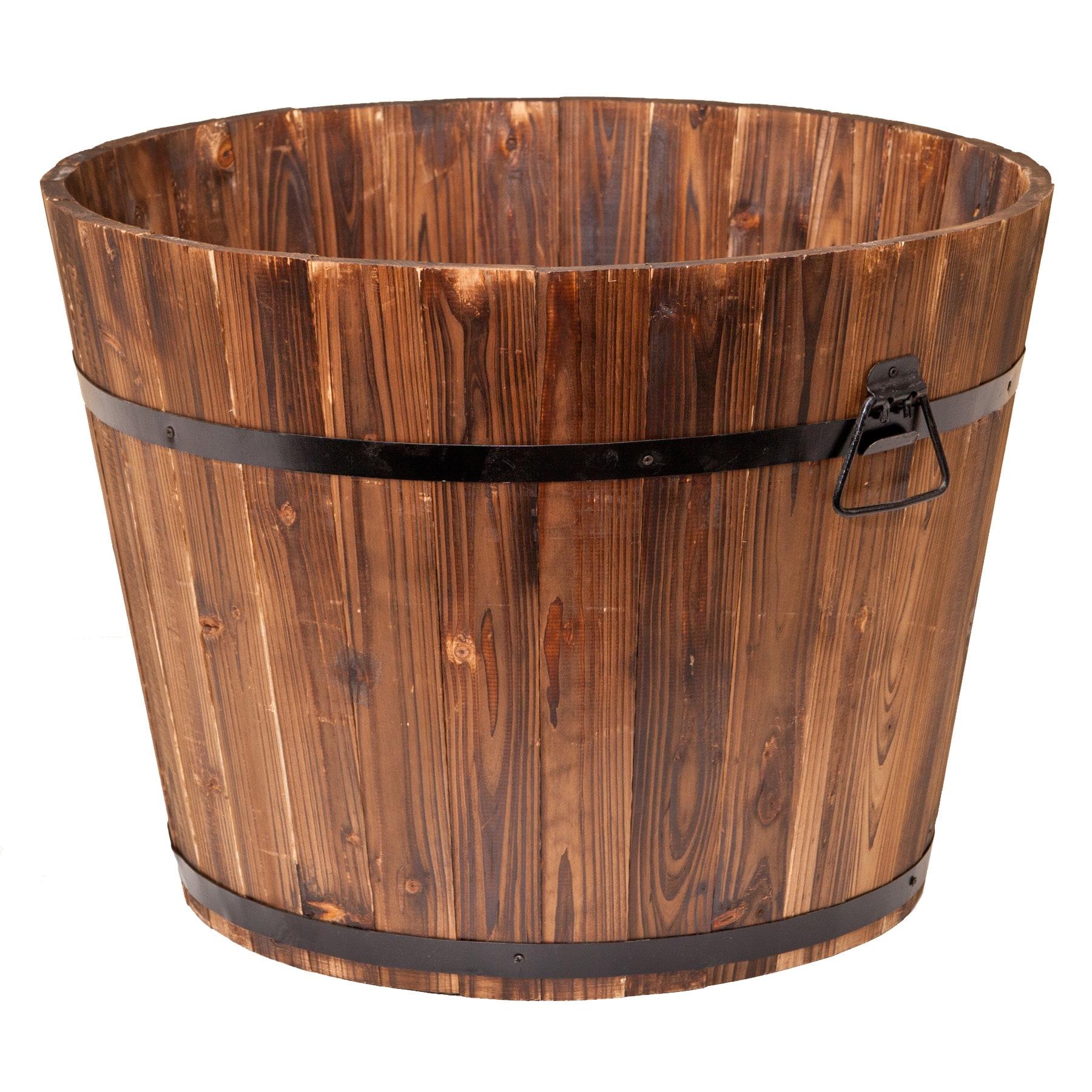 Enterprises Large Round Whiskey Barrel Planter, Brown (Ce...
