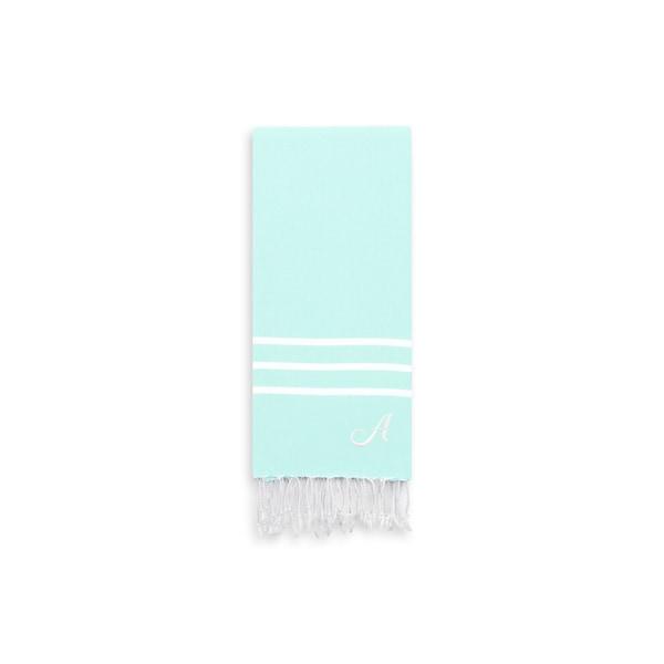 Authentic Ella Soft Aqua Monogrammed Pestemal Fouta Turkish Cotton Hand/Kitchen Towel
