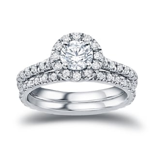 Auriya Platinum 1ct TDW Round-Cut Diamond Halo Bridal Ring Set (H-I, SI1-SI2)