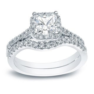 Auriya Platinum 1 1/5ct TDW Princess-Cut Diamond Halo Bridal Ring Set (H-I, I1-I2)