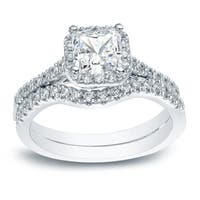Platinum 1 1/5ct TDW Princess Cut Diamond Halo Engagement Ring Set by Auriya
