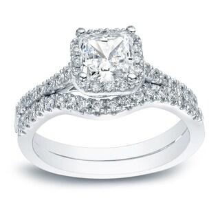Auriya Platinum 1 1/5ct TDW Certified Princess-cut Diamond Halo Engagement Ring Set