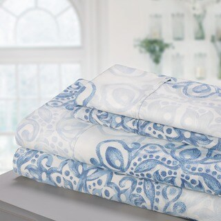 Superior 300 Thread Count Deep Pocket Printed Cotton Sheet Set (4 options available)
