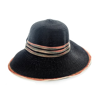 Faddism Women's Black Woven Hat With Big Bow