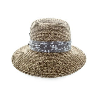 Faddism Women's Multicolor Woven Hat With Big Ribbon