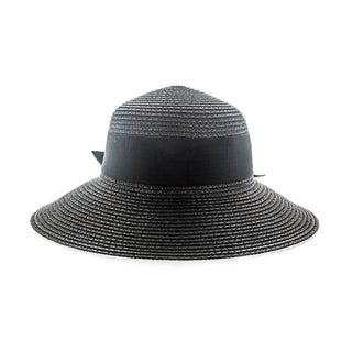 Faddism Women's Black or White Woven Sun Hat with Big Ribbon