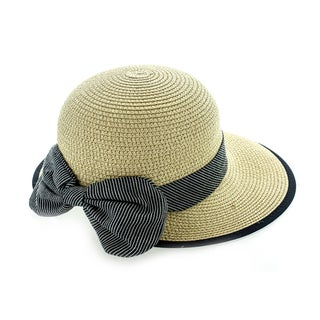 Faddism Women's Black Woven Hat With Black Edge And Big Bow