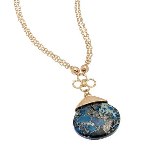 Blue Mottled Stone Pendant
