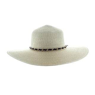 Faddism Women's White/Black/Brown Sunhat with Chain Hatband
