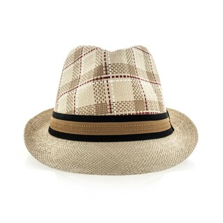 Faddism Plaid Fedora Hat with Black or Brown Band