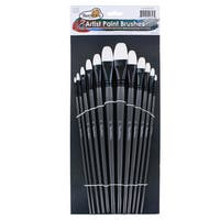 Thornton's Art Supply Flat White and Black Nylon Professional Acrylic, Watercolor, and Oil Filbert Art Paint Brush Set