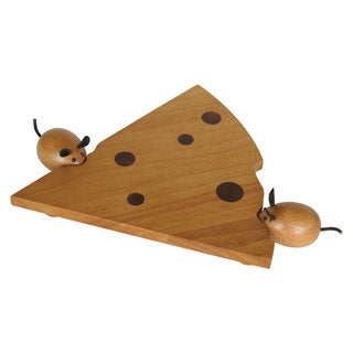 Peterson Housewares Brown Wood Cheese Board Set with 2 Mouse Handle Tools