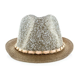 Faddism Brown Woven Fedora Hat With Chain Hatband