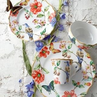 222 Fifth Ambri White Porcelain Dinnerware, Service for 4