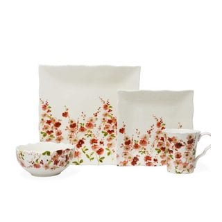 222 Fifth Belicia Pink Porcelain Dinnerware (Case of 16)