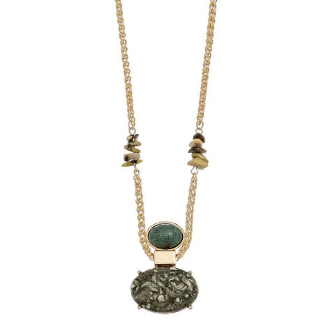 Green Oval Marble Stone Necklace