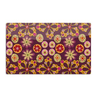 KESS InHouse Jane Smith 'Indian Jewelry Floral' Purple Gold Artistic Aluminum Magnet