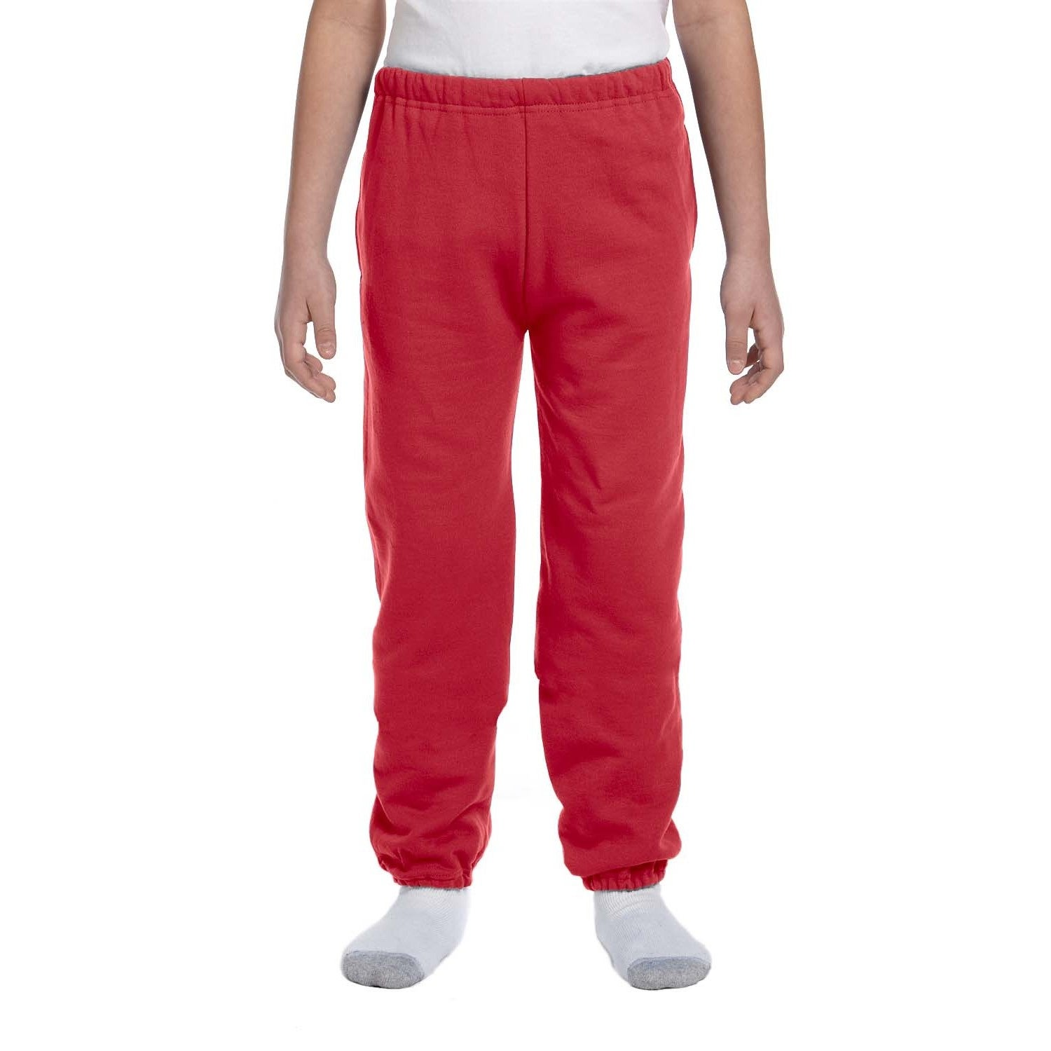 Super Sweats Youth True Red Polyester Sweatpants with Poc...