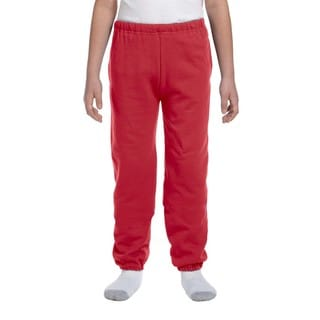Super Sweats Youth True Red Polyester Sweatpants with Pockets