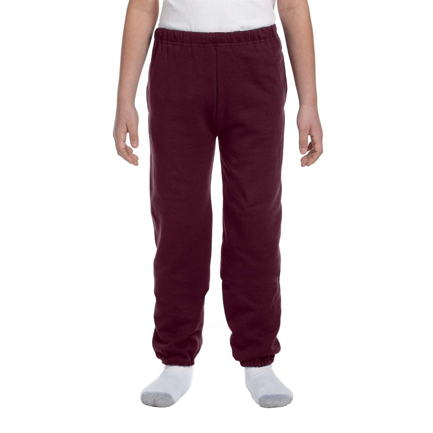 Super Sweats Youth Maroon Polyester Sweatpants With Pocke...